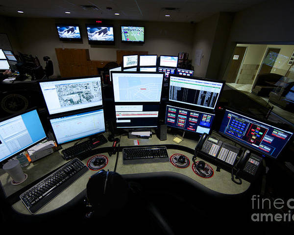 Call Center Poster featuring the photograph Control Room Center For Emergency by Terry Moore