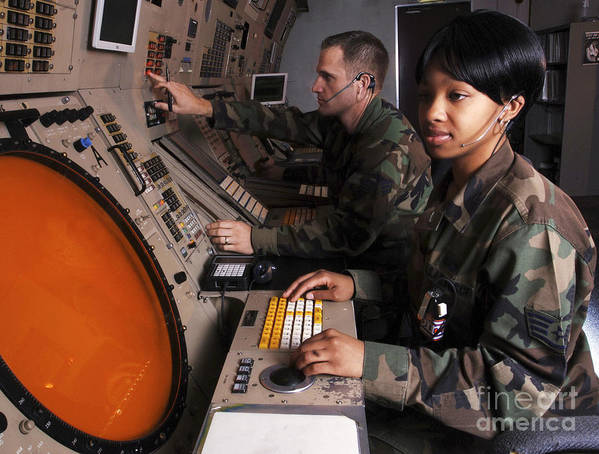 Horizontal Poster featuring the photograph Control Technicians Use Radarscopes by Stocktrek Images