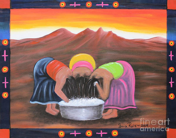 Mexican Art Poster featuring the painting Cooling Off by Sonia Flores Ruiz