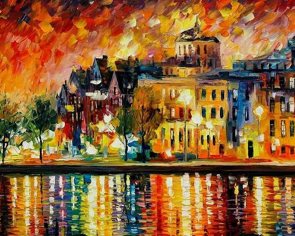 City Poster featuring the painting Copenhagen Original Oil Painting by Leonid Afremov
