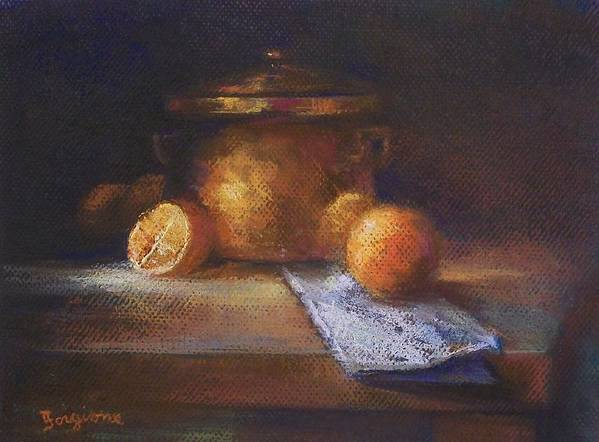 Oranges Poster featuring the pastel Copper Pot With Oranges by Tom Forgione