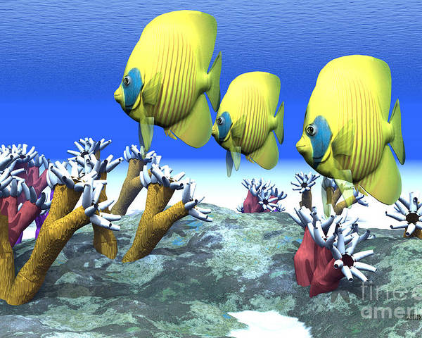 Butterflyfish Poster featuring the painting Coral Moods by Corey Ford
