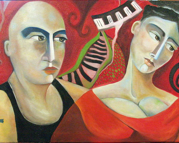 Man Woman Cubist Music Piano Red Cross Poster featuring the painting Corazon Pesado by Niki Sands