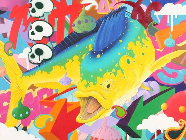 Mahi Poster featuring the painting Coreyphania Hip-hoperous by Mutt Hubbard