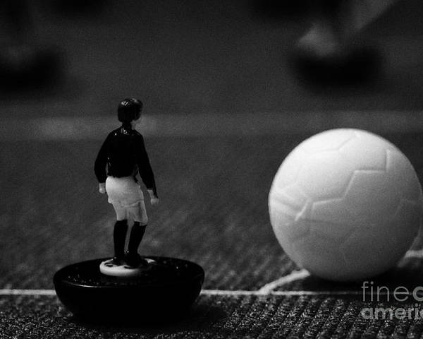 Table Poster featuring the photograph Corner Kick Football Soccer Scene Reinacted With Subbuteo Table Top Football Players Game by Joe Fox