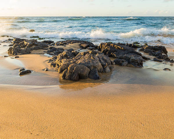 Ocean Sun Wave Hawaii Sand Sea Sky Rocks Spray Surf Oahu Waves Clouds Orange Blue Reflection Water Splash Footprints Flow Wash Yellow Paradise South Sandys Kai Stream Mirror Shine Shiny Crab Fish Morning Sunrise Sunset Dawn Early Bird Rise Dusk Free Calm Relaxed Relaxing Relax Cool Warm Comfort Happy Vacation Dream Poster featuring the photograph Corner Rock by Joshua Marumoto