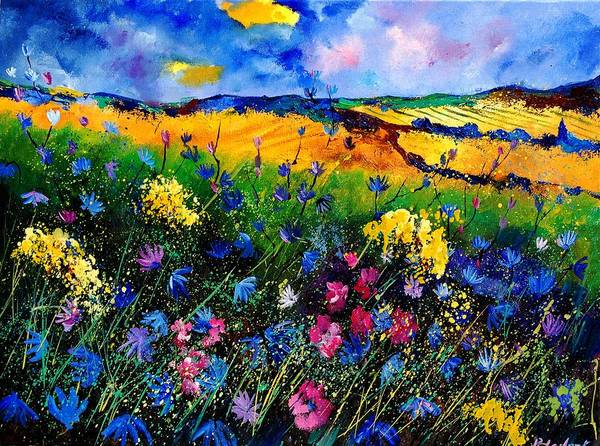 Flowers Poster featuring the painting Cornflowers 680808 by Pol Ledent