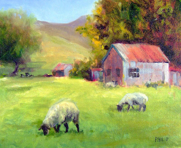 Sheep Poster featuring the painting Coromandel New Zealand Sheep by Michelle Philip
