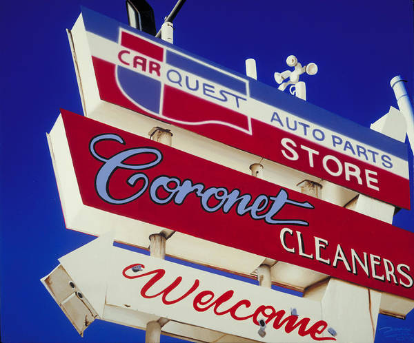 Americana Poster featuring the painting Coronet Cleaners by Randy Ford