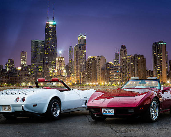 Classic Cars Poster featuring the photograph Corvettes In Chicago by Darek Szupina Photographer