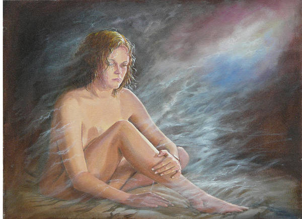 Nude Poster featuring the painting Cosmic Mysts by Tomas OMaoldomhnaigh