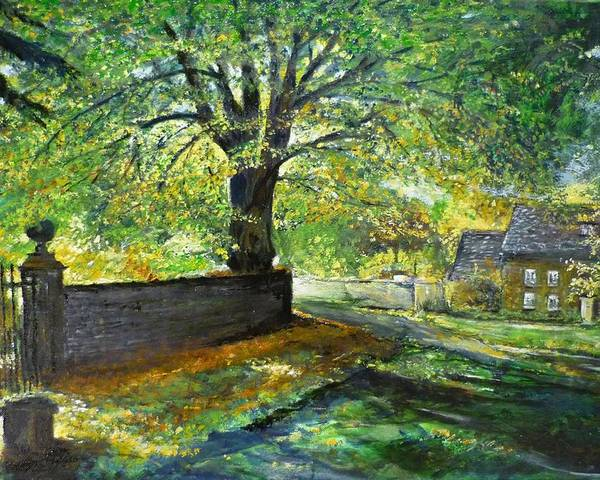 Landscape Poster featuring the painting Cotswold Lane by Lizzy Forrester