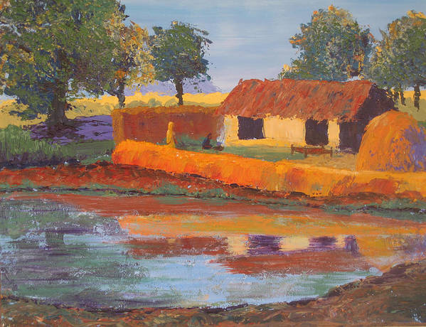 Cottage Poster featuring the painting Cottage By The Pond by Art Nomad Sandra Hansen