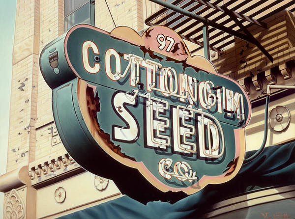 Sign Poster featuring the painting Cottongim Seed by Van Cordle