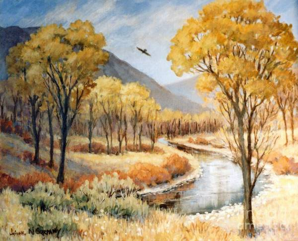 Cottonwood Poster featuring the painting Cottonwood Canyon Autumn by JoAnne Corpany