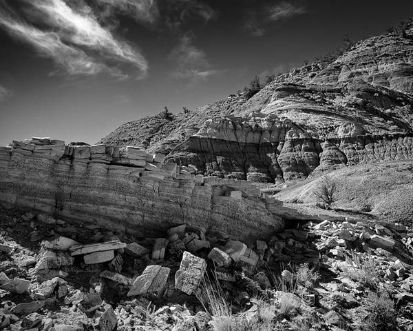 Beautiful Photos Poster featuring the photograph Cottonwood Creek Strange Rocks 3 Bw by Roger Snyder