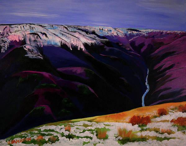Sarah Hamilton Poster featuring the painting Cottonwood Idaho by Sarah Hamilton