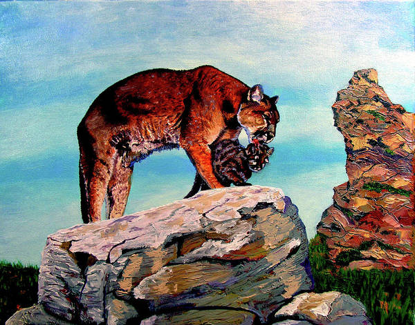 Cougar Poster featuring the painting Cougars Mother and Cub by Stan Hamilton