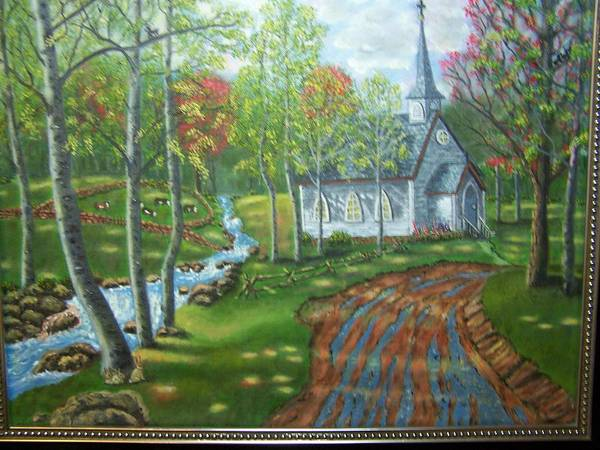 Landscape Poster featuring the painting Country Church by Charles Vaughn