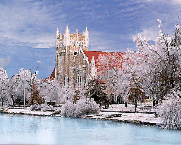 Winter Poster featuring the photograph Country Club Christian Church by Steve Karol