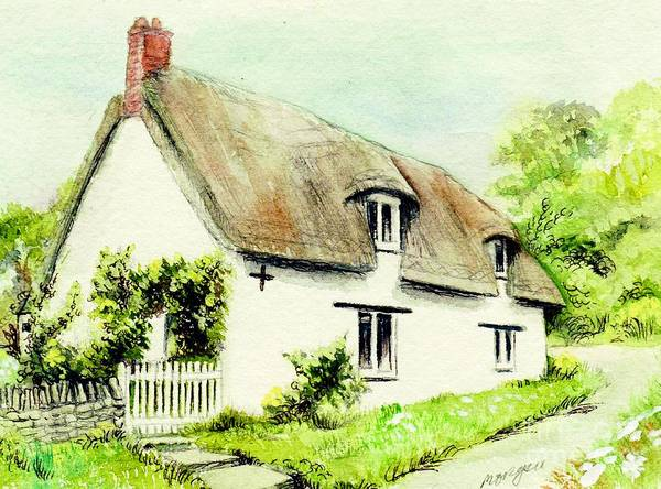 Country Poster featuring the painting Country Cottage England by Morgan Fitzsimons