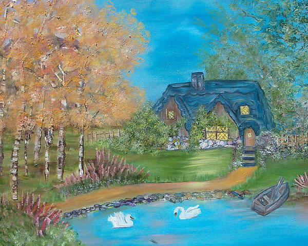 Cottage Poster featuring the painting Country Cottage by Mikki Alhart