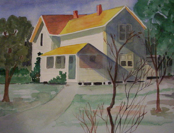 Country Home Rural Landscape Poster featuring the painting Country Home by Audrey Bunchkowski