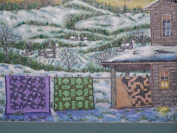 Quilts Poster featuring the painting Country Quilts by Charles Vaughn