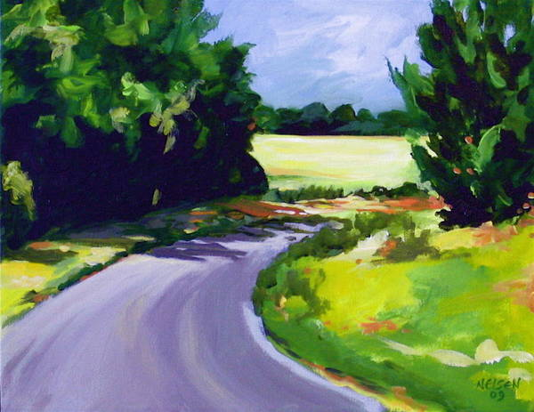 Road Poster featuring the painting Country Road by Outre Art Natalie Eisen