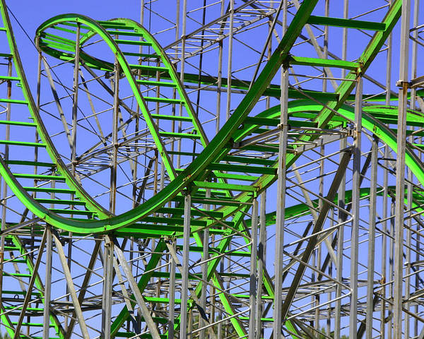 Green Poster featuring the photograph County Fair Thrill Ride by Joe Kozlowski