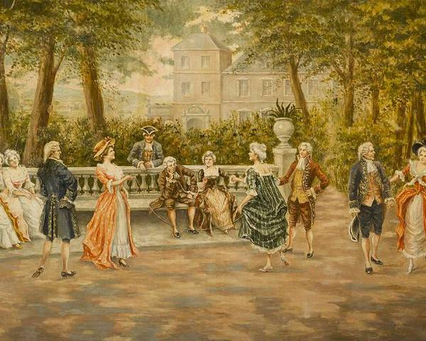 Mariano Alonso Perez(spanish Poster featuring the painting Couples On Veranda Of Chateau by Mariano Alonso