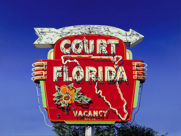 Neon Poster featuring the painting Court Florida by Randy Ford
