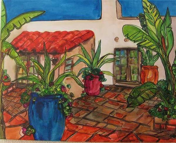 Poster featuring the painting Courtyard in Rancho Santa Fe by Michelle Gonzalez