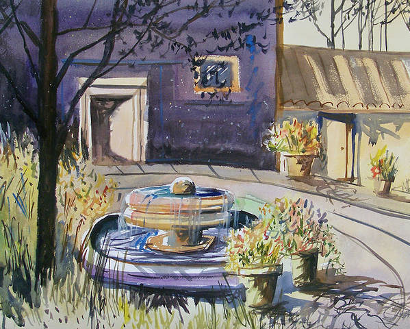 Watercolor Poster featuring the painting Courtyard In The Morning by Ryan Radke