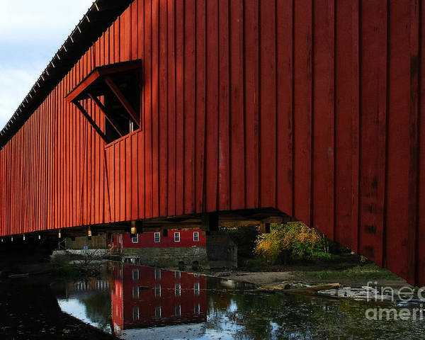 Mel Steinhauer Poster featuring the photograph Covered Bridge Reflections by Mel Steinhauer