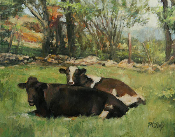 Cow Poster featuring the painting Cow Buddies by Robert Tutsky