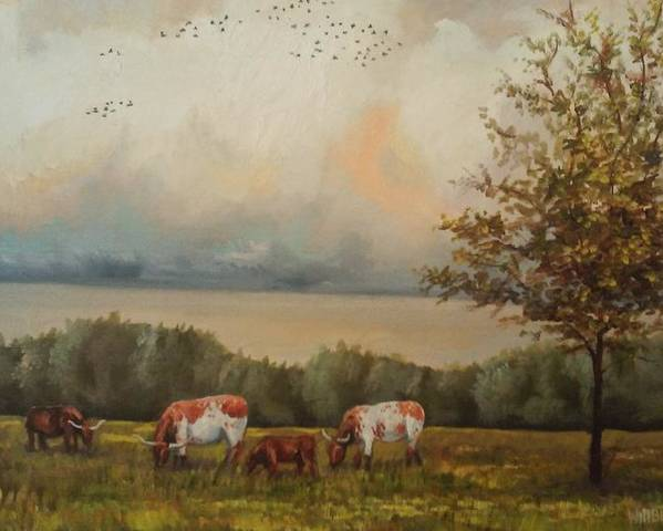 Landscape Poster featuring the painting Cow Field by Jay Willbur