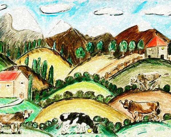 Farmland Poster featuring the painting Cow Land by Monica Engeler