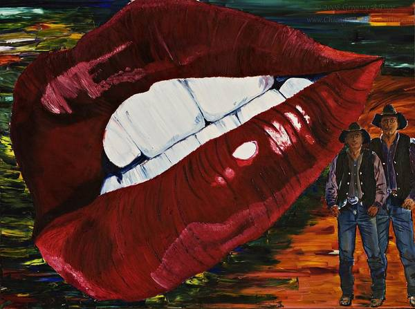 Cowboy Poster featuring the painting Cowboy Lips by Gregory Allen Page