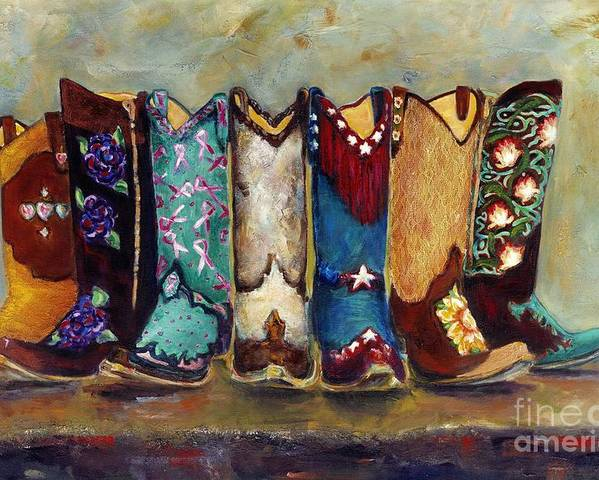 Cowgirls Poster featuring the painting Cowgirls Kickin The Blues by Frances Marino