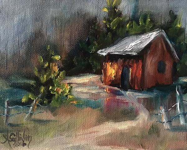 Barn Poster featuring the painting Cozy Comfort by Angela Sullivan