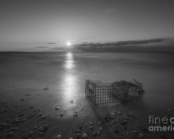 Sandy Hook Poster featuring the photograph Crab Trap Sunset Le Bw by Michael Ver Sprill