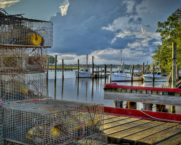 Rescue Poster featuring the photograph Crabpots And Fishing Boats by Williams-Cairns Photography LLC