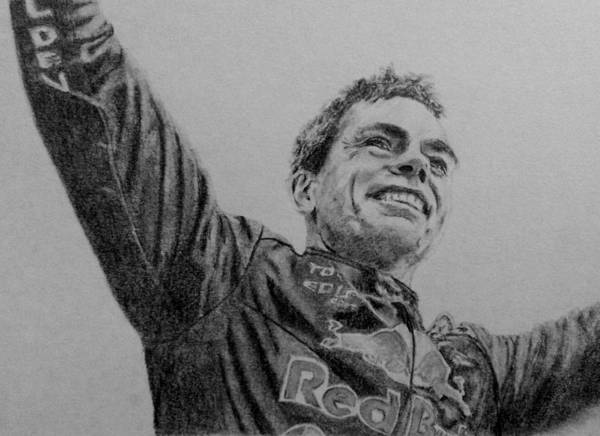 V8 Poster featuring the drawing Craig Lowndes by Kate R