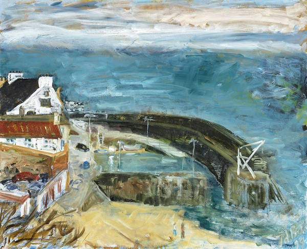 Sea Water Sky Houses Harbor Cars People Beach Wall Scotland Poster featuring the painting Crail Harbor by Joan De Bot