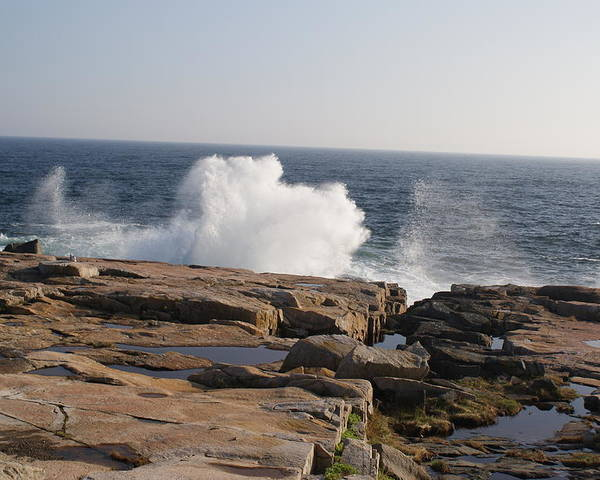 Crashing Poster featuring the photograph Crashing Waves On Maine Coast Rocks by Holly Eads