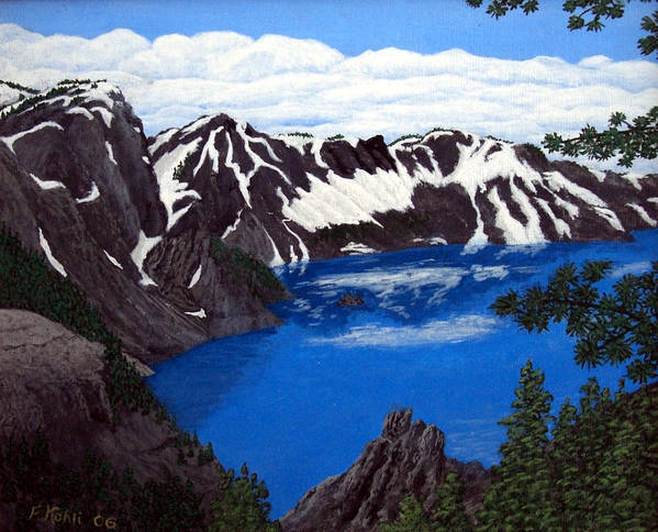 Art Poster featuring the painting Crater Lake by Frederic Kohli