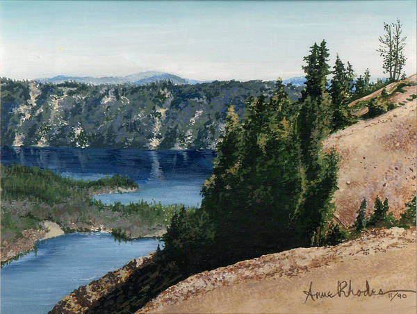 Landscape Poster featuring the painting Crater Lake Oregon by Anne Rhodes