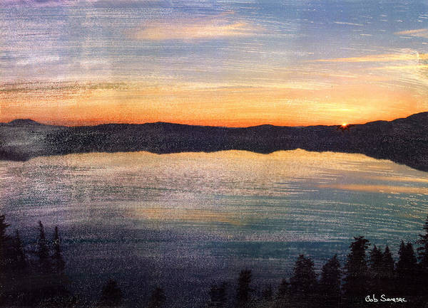 Sun Poster featuring the mixed media Crater Lake Sunrise by Bob Senesac