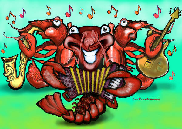 Crawfish Poster featuring the greeting card Crawfish Band by Kevin Middleton